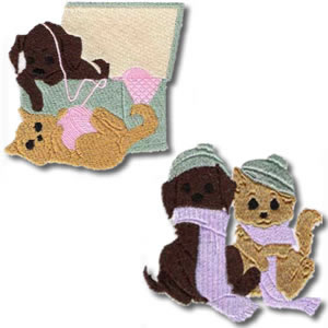 10 Set Puppy And Kitten Playing Embroidery Design