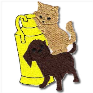 Dog And Cat Playing Embroidery Design