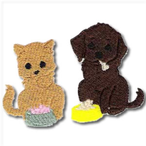 Dog And Kitty Embroidery Design