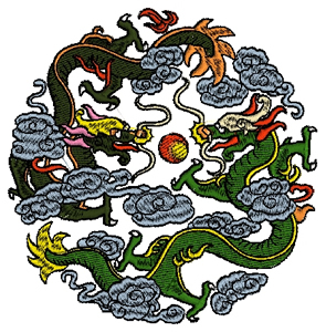 Dragons in the clouds Embroidery Design