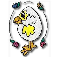 Eggy Chick Embroidery Design