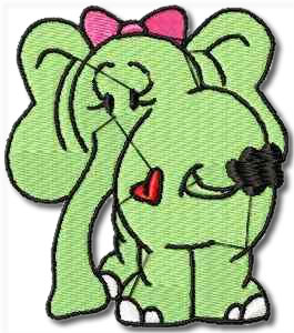 Critters Elephant Embroidery Design