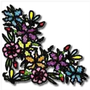 Lilac Floral Corner Embroidery Design