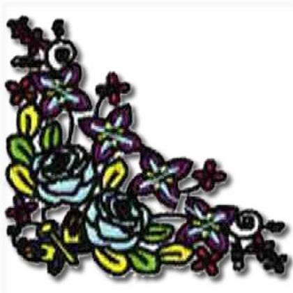 Rose Flower Corner Embroidery Design