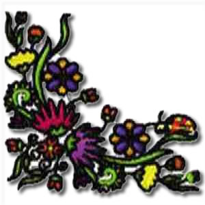 Colourful Floral Corner Embroidery Design