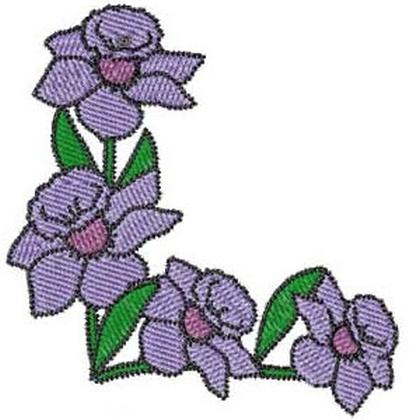 Realistic Violet Corner Embroidery Design