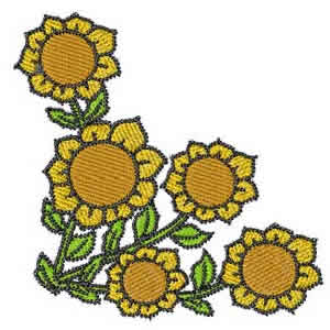 Corner Sunflower Embroidery Design