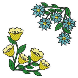 Real Corner Floral Embroidery Design