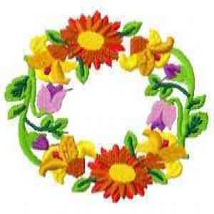 Marigold Floral Wreath Embroidery Design
