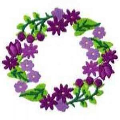 Violets Floral Wreath Embroidery Design