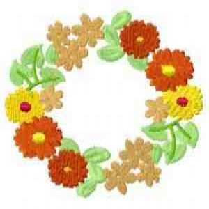 Autumn Floral Wreath Embroidery Design