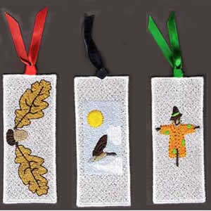 10 set Fall Bookmarkers Embroidery Design