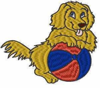 Golden Retriever with Ball Embroidery Design