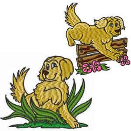 10 Set Golden Retrievers Embroidery Design