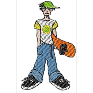 Kid with Skateboard Embroidery Design