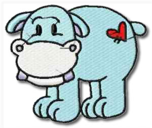 Critters Hippo Embroidery Design