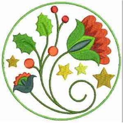 Jacobean Floral Coaster Embroidery Design