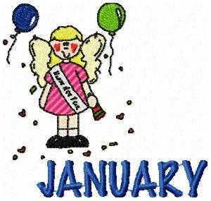 January Party Time Embroidery Design