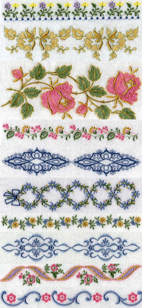 Set linen borders machine embroidery designs