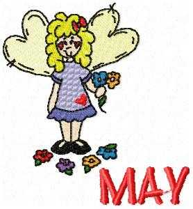 May Flower Girl Embroidery Design