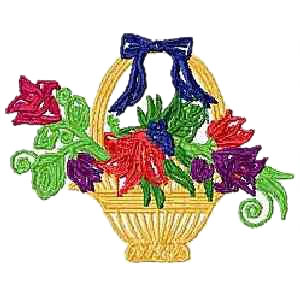 Basket with Flower Embroidery Design