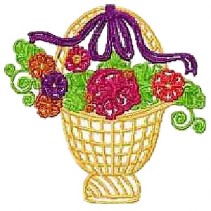 Basket with Ribbon and Flowers Embroidery Design