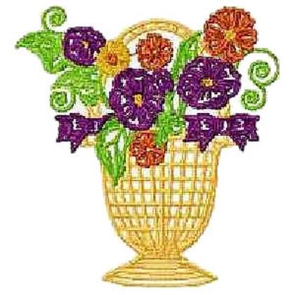 Large Hoop Floral Basket Embroidery Design
