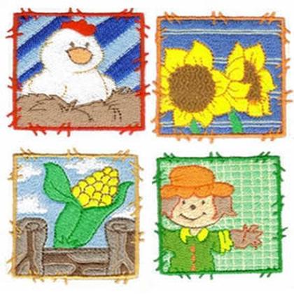 10 set Farm Blocks Embroidery Design