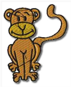 Critters Monkey Embroidery Design