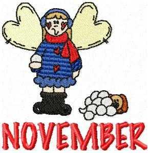 November Snowball Fun Embroidery Design