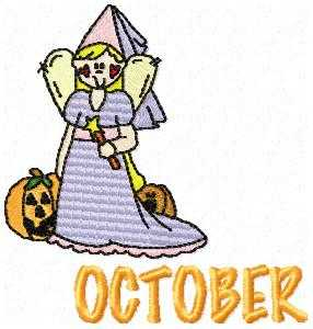 October Princess Embroidery Design