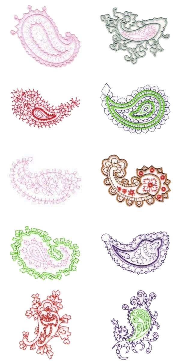 10 set paisley machine embroidery designs