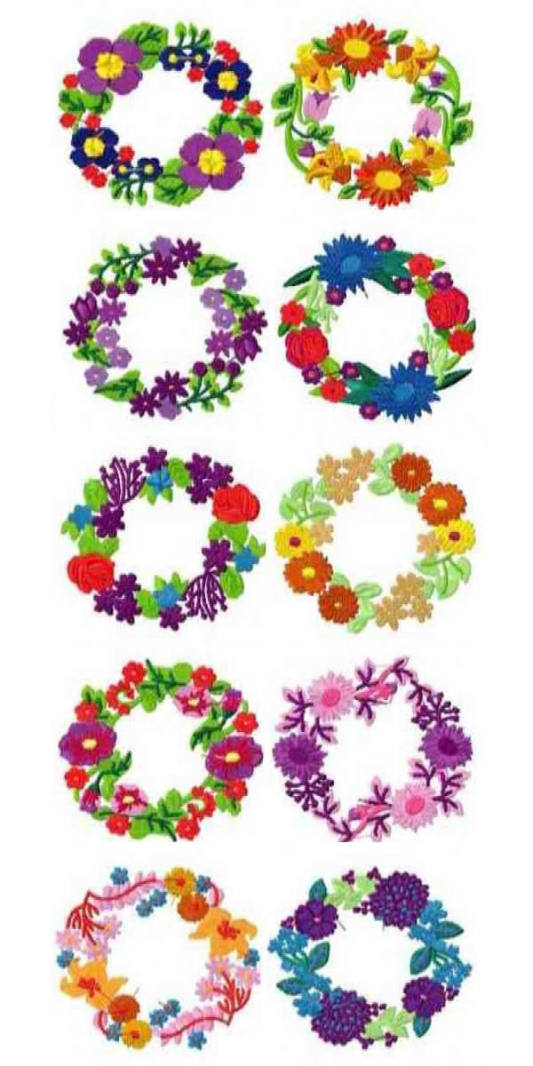 Set of floral wreath machine embroidery designs