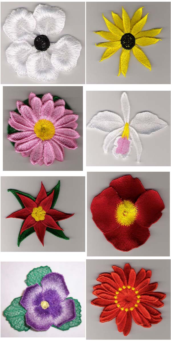 8 Set Of 3d Flower Machine Embroidery Designs