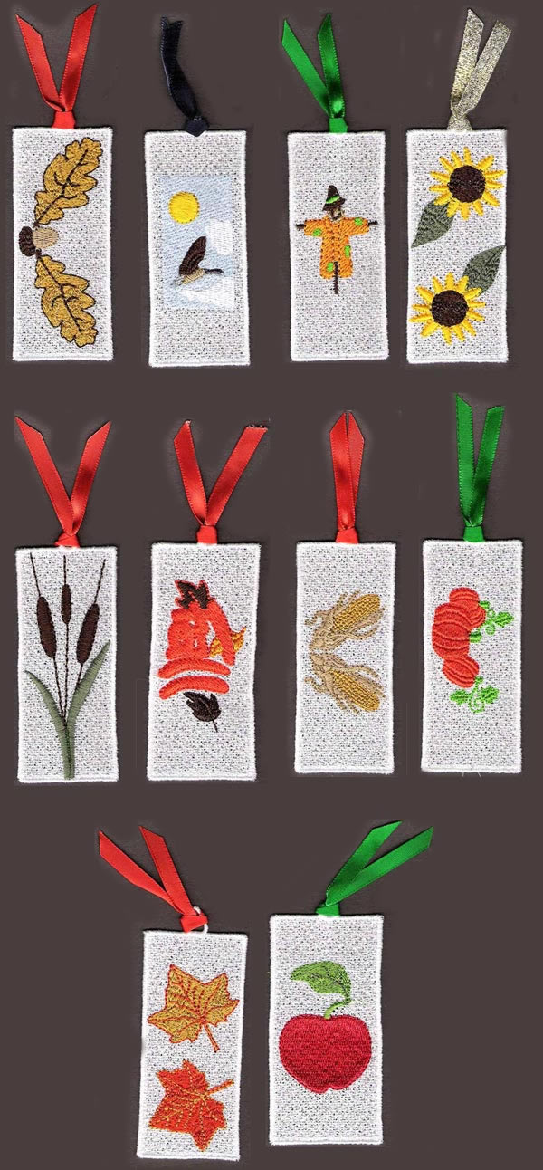 10 set Fall Bookmarkers