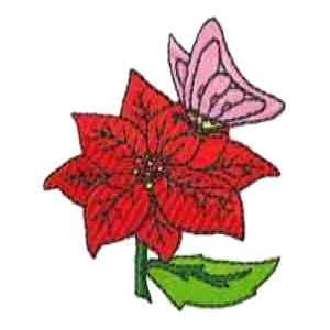 Butterfly Poinsettia Embroidery Design