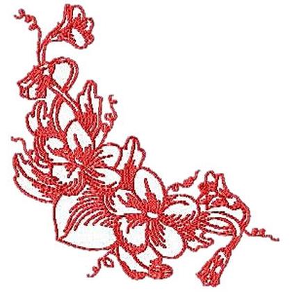 Corner Violet Embroidery Design