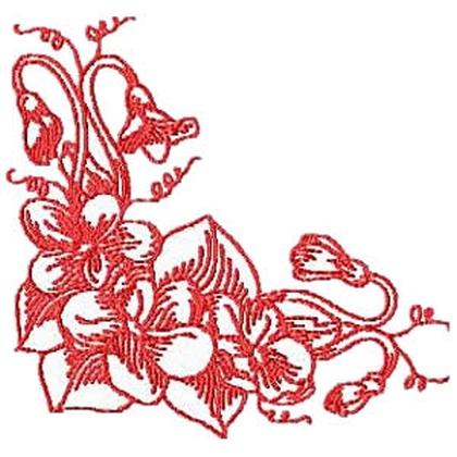 Violet Corner Embroidery Design
