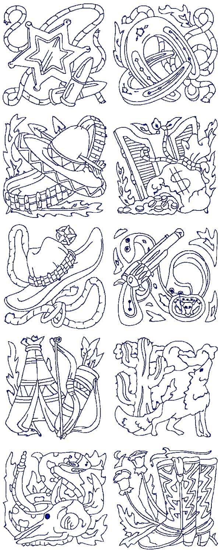 40 Redwork Western Machine Embroidery Designs