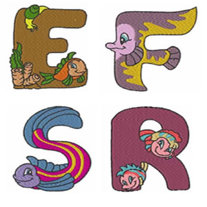 Sea World Alphabet Embroidery Design