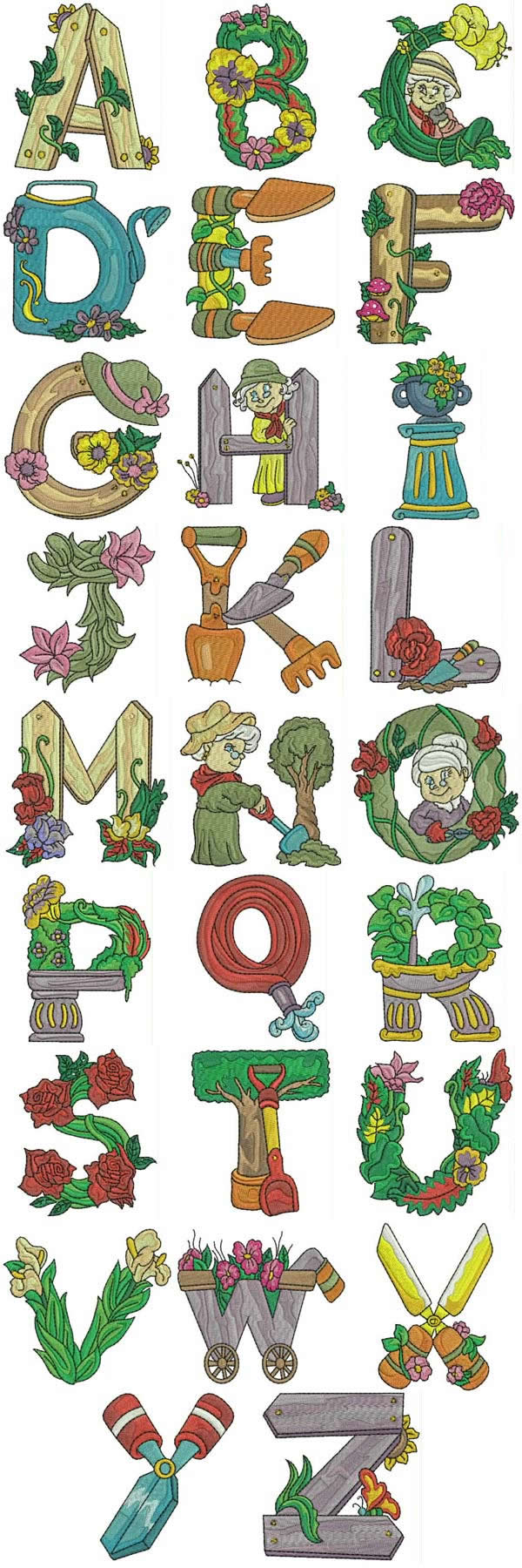 Gardening Alphabet Machine Embroidery Designs