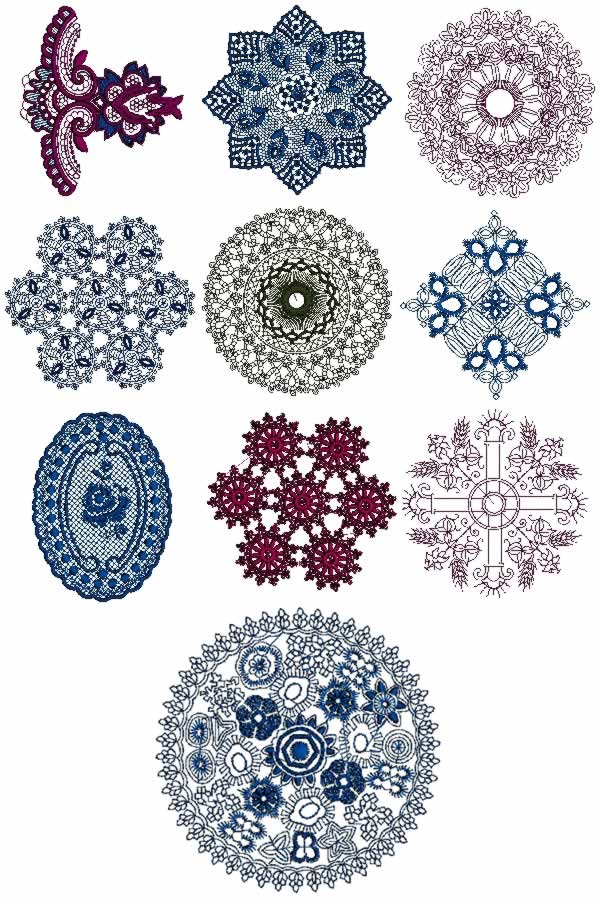 10 Set Of Decorative Lace For Linen Machine Embroidery Designs