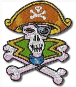 Captain Jack Pirate Skull Embroidery Design