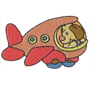 Cartoon Aeroplane Embroidery Design