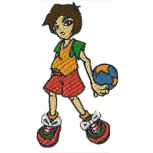Kid Playing Basketball Embroidery Design