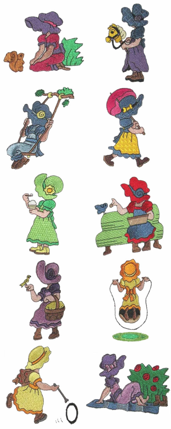 10 set Kids with Sun Bonnets