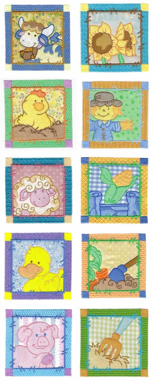 10 set Applique Sweet Farm Blocks