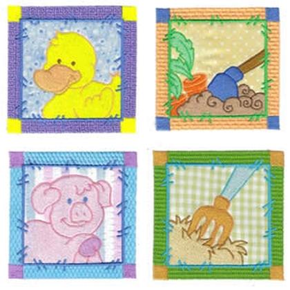 10 set Applique Sweet Farm Blocks Embroidery Design