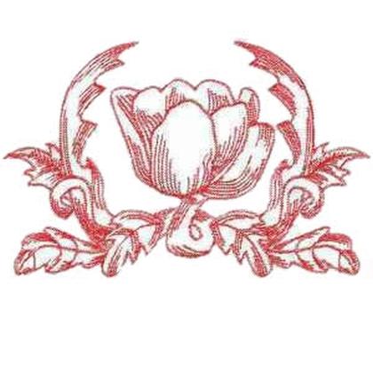 Single Redwork Tulip Embroidery Design