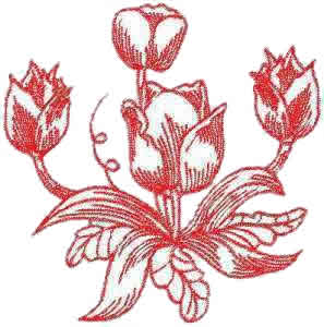 Tulips Display Embroidery Design